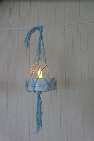 lampion et filet macramé